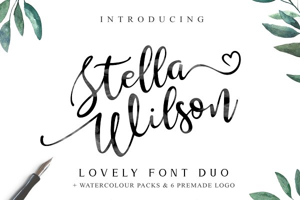 Script Fonts: Lettersiro - Stella Wilson Font Duo & Extras