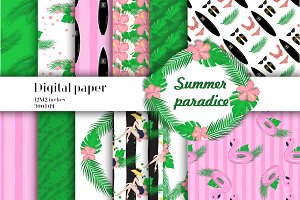 Summer paradise digital paper pack