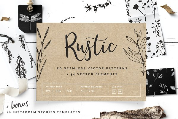 Patterns: Youandigraphics - Rustic Patterns & Instagram Stories