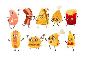 Set of funny fast food characters