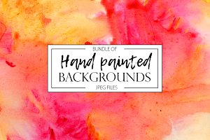 Hand painted backgrounds bundle