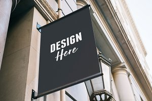 Black Hanging Sign Mockup