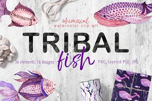 Tribal Fish - watercolor set
