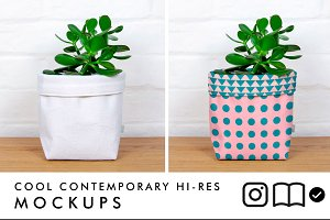 Fabric planter mockup with plant