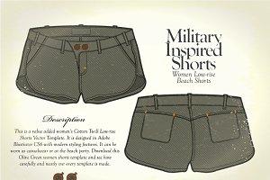 Women Military Inspired Beach Shorts