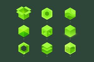 9 hexagons. Vector logo