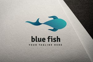 Blue fish vector logo