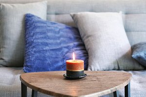 Aroma candle in the living room