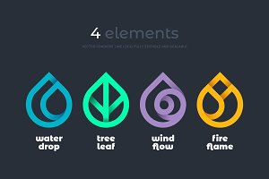 Nature elements. 4 gradient logo