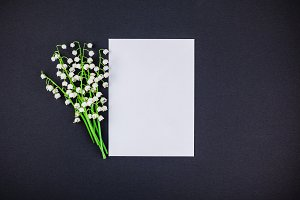 Frame mock up with bouquet of lilies