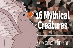 16 Mythical creatures clip art