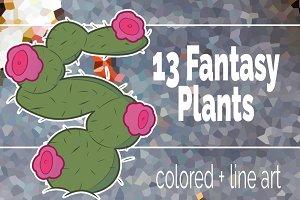 13 Fantasy plants clipart set