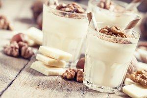 Dessert of white chocolate and walnu