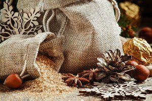 Christmas spices in bags, candy and
