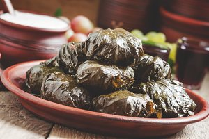 Traditional Greek dolma with meat in