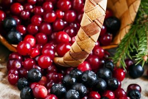 Fresh cranberry and chokeberry poure