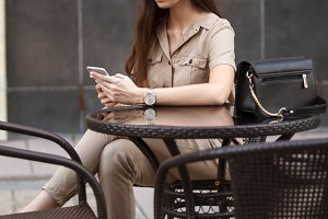 beautiful girl using smart phone