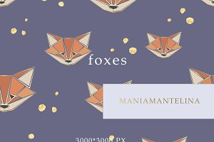 Foxes seamless pattern for kids