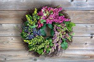 Colorful artificial wreath