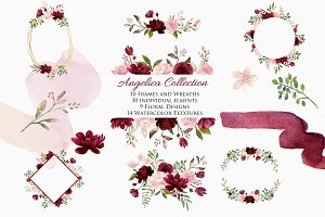 Blush & Burgundy Clip Art- Angelica