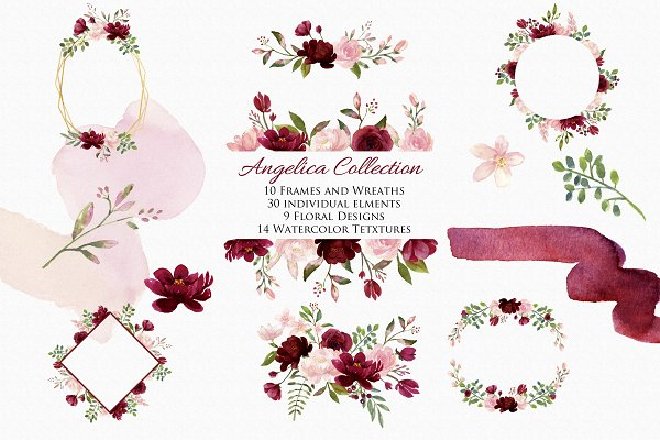 Blush & Burgundy Clip Art- Angelica…