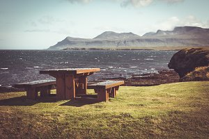 Wooden table and benches in resting