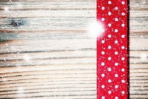 Decorative red ribbon with polka dot