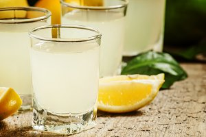 Traditional homemade lemon liqueur l