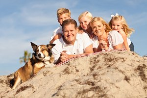 Happy Caucasian Family Portrait at t