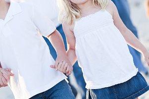 Adorable Little Girl Walking With He