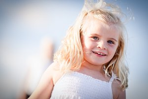 Adorable Blue Eyed Girl Playing Outs