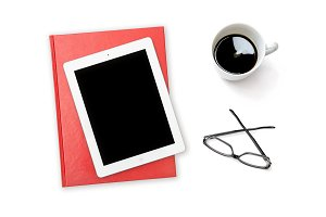 Office desk tablet pc Ipad coffee