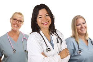 Hispanic Female Doctor and Colleague