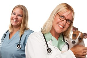 Female Veterinarian Doctors with Sma