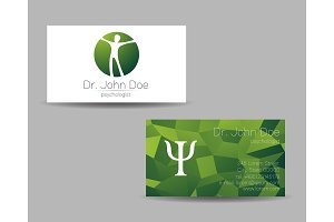 Psychology vector visit card. Modern