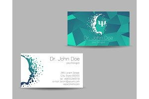 Psychology vector visit card. Modern