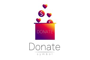 Donation sign icon. Donate money box