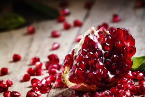 Fresh peeled pomegranates with ruby