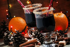 Christmas mulled wine with brown sug