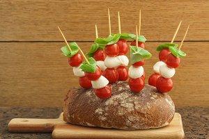 Party bread on wooden board