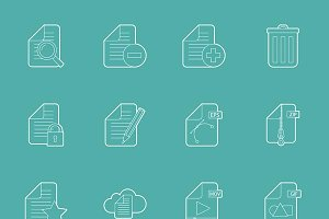 Files and documents icons set