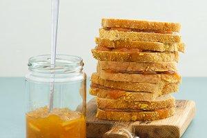 Orange jam sandwiches