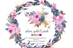 Watercolor Soft Pink Roses & Gold