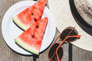 Slices of ripe, juicy watermelon