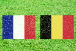 France vs Belgium Soccer Match with