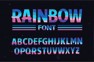 Vector of stylized colorful font