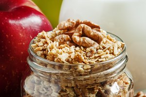 Baked muesli with nuts, milk jug, gr