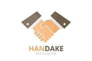 Vector handshake logo combination.