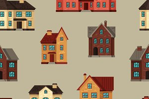 Seamless patterns with cottages.