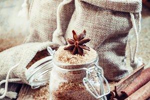 Brown cane sugar in bags made of bur